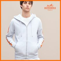 HERMES Street Style Long Sleeves Plain Cotton Hoodies