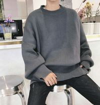Street Style Boat Neck Long Sleeves Plain Cotton Oversized