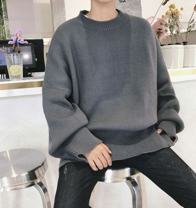 Knits & Sweaters Street Style Boat Neck Long Sleeves Plain Cotton Oversized