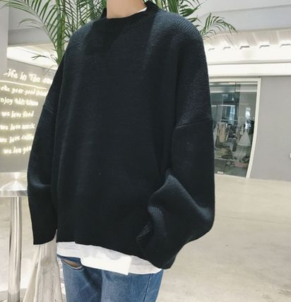 Knits & Sweaters Street Style Boat Neck Long Sleeves Plain Cotton Oversized 13
