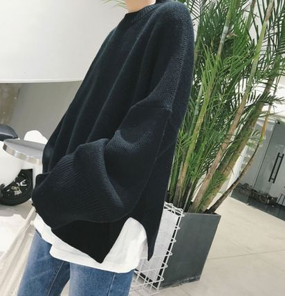 Knits & Sweaters Street Style Boat Neck Long Sleeves Plain Cotton Oversized 16