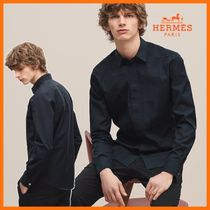 HERMES Button-down Long Sleeves Plain Cotton Shirts