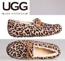 UGG Australia Leopard Patterns Plain Toe Casual Style Suede