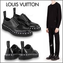 Louis Vuitton Plain Toe Blended Fabrics Studded Street Style Plain Leather