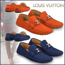 Louis Vuitton Plain Toe Moccasin Suede Blended Fabrics Plain