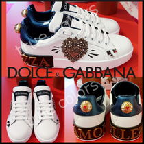 Dolce & Gabbana Heart Round Toe Rubber Sole Casual Style Blended Fabrics