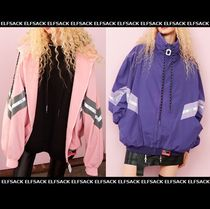 ELF SACK Stripes Unisex Street Style Medium Oversized Jackets