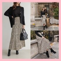 Flared Skirts Leopard Patterns Casual Style Long Maxi Skirts