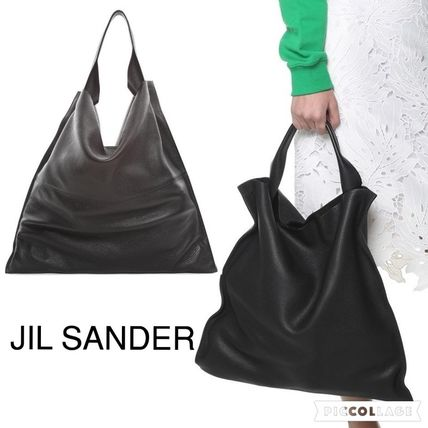 Jil Sander Shoulder Bags Calfskin Plain Office Style