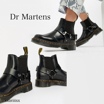 Dr Martens Ankle & Booties Round Toe Casual Style Blended Fabrics Street Style Plain