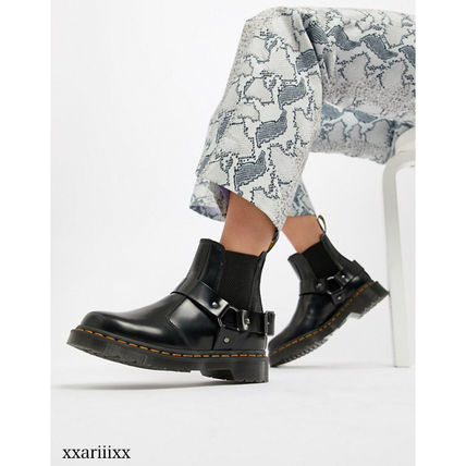 Dr Martens Ankle & Booties Round Toe Casual Style Blended Fabrics Street Style Plain 2
