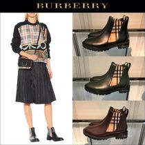 Burberry Other Check Patterns Rubber Sole Leather Chelsea Boots