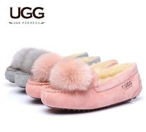 UGG Australia Plain Toe Casual Style Sheepskin Plain Loafer Pumps & Mules