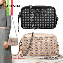 PRADA DIAGRAMME Calfskin Chain Plain With Jewels Elegant Style Shoulder Bags