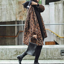 Leopard Patterns Casual Style Wool Medium Chester Coats