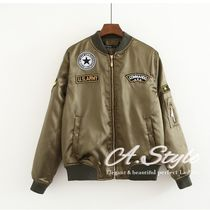 Short Casual Style Plain Khaki Varsity Jackets