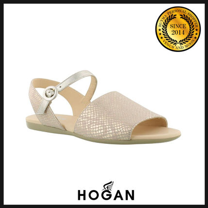 Open Toe Rubber Sole Leather Python Sandals