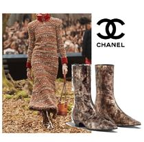 CHANEL Block Heels Elegant Style Ankle & Booties Boots