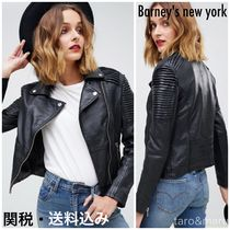 Barneys New York Short Street Style Plain Leather Biker Jackets