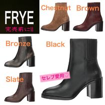 FRYE Round Toe Casual Style Plain Leather Block Heels