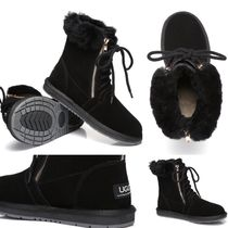 UGG Australia Round Toe Lace-up Casual Style Plain Lace-up Boots