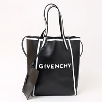 GIVENCHY Street Style A4 Leather Elegant Style Totes