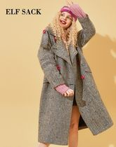 ELF SACK Casual Style Wool Street Style Long Trench Coats