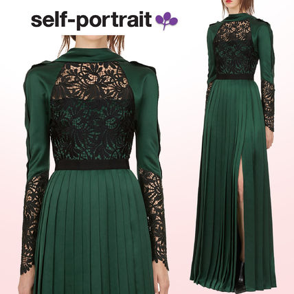 Flower Patterns Maxi Long Sleeves Long High-Neck Lace