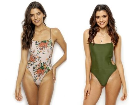 Flower Patterns Plain Halter Beachwear