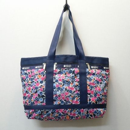 Flower Patterns Casual Style Unisex Nylon Totes