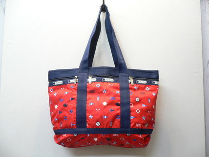 Tropical Patterns Casual Style Unisex Nylon A4 Totes