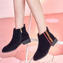 Stripes Casual Style Suede Ankle & Booties Boots