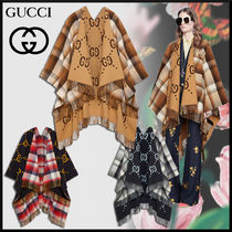 GUCCI Tartan Monogram Unisex Wool Long Fringes Ponchos & Capes