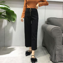 Plain Long Office Style Culottes & Gaucho Pants