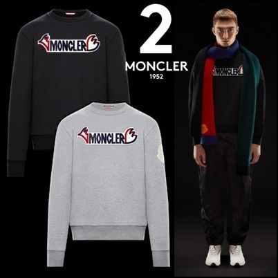 MONCLER Sweatshirts Crew Neck Pullovers Unisex Blended Fabrics Street Style
