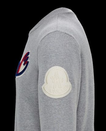 MONCLER Sweatshirts Crew Neck Pullovers Unisex Blended Fabrics Street Style 7