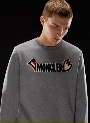 MONCLER Sweatshirts Crew Neck Pullovers Unisex Blended Fabrics Street Style 8