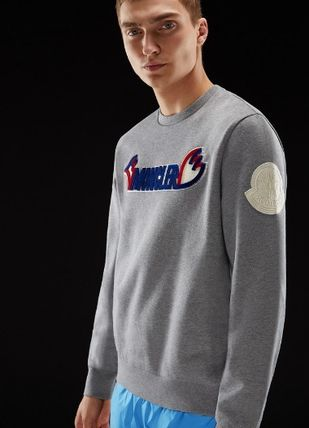 MONCLER Sweatshirts Crew Neck Pullovers Unisex Blended Fabrics Street Style 9