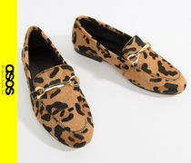 ASOS Leopard Patterns Casual Style Leather Loafer Pumps & Mules