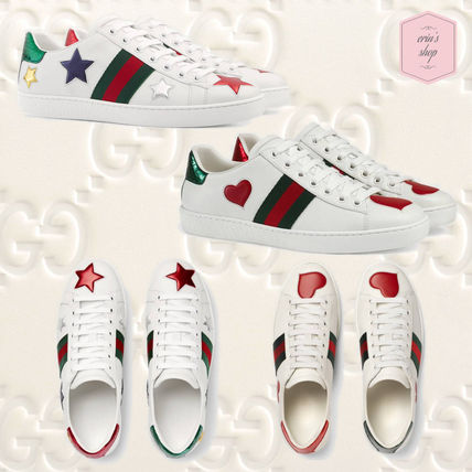7fc8ab8b6fa ... GUCCI Low-Top Heart Star Rubber Sole Casual Style Street Style Leather  ...