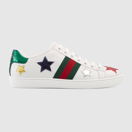 63fc736572a ... GUCCI Low-Top Heart Star Rubber Sole Casual Style Street Style Leather  2 ...