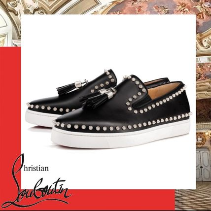 a39a9a33be8b ... Christian Louboutin Loafers   Slip-ons Plain Toe Unisex Studded Street  Style Plain Leather ...