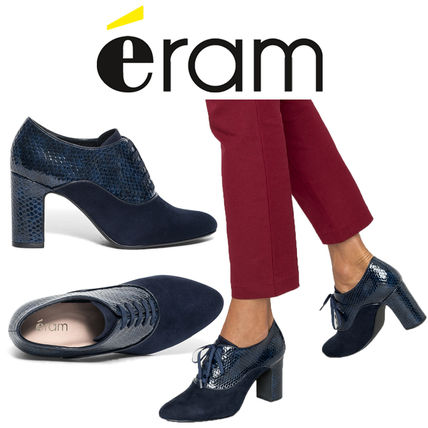 Casual Style Plain Block Heels Loafer & Moccasin Shoes