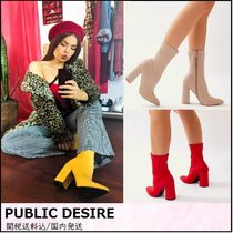 PUBLIC DESIRE Casual Style Plain Block Heels Ankle & Booties Boots