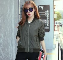 Casual Style Street Style Plain Medium Varsity Jackets