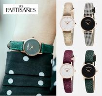 LES PARTISANES Leather Round Quartz Watches Office Style Analog Watches