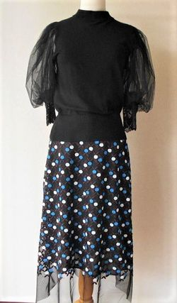 Flared Skirts Dots Chiffon Medium Midi Skirts