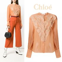 Chloe Flower Patterns Long Sleeves Plain Medium Elegant Style