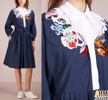 Flower Patterns Casual Style Puffed Sleeves V-Neck Cotton