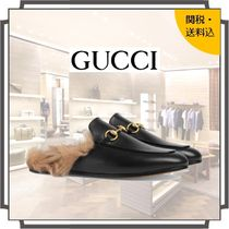 GUCCI Princetown Round Toe Casual Style Blended Fabrics Bi-color Plain